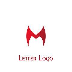 M letter logo, logo with red color isolated on white background.