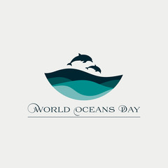 Beautiful concept card for the World Oceans Day with waves and dolphins.