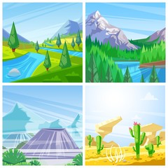Set of vector landscape illustrations. Mountains, green hills and meadows, desert and volcanoes view