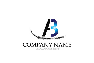 Letter AB Logo Design Vector.