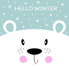 Face cute polar bear and falling snowflakes.