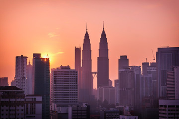 Deurstickers Kuala Lumpur Beautiful sunrise landscape of aerial Kuala Lumpur skyline, Malaysia