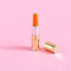 Creative idea: tube of lipstick and mini carrot
