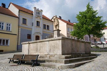 Fotobehang Artistiek mon. Square with fountain in the historic town Vimperk, southern Bohemia, Czech republic, Europe,