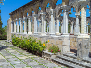 old Roman style architecture in Versailles Garden on Paradise Island  in Nassau Bahamas