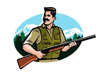 Hunter holds shotgun in his hands. Hunting, hunt vector illustration