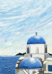 vue sur la mer depuis l'île de Santorin, Grèce, illustration