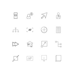 Web linear thin icons set. Outlined simple vector icons