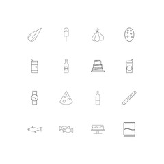 Food And Drink linear thin icons set. Outlined simple vector icons