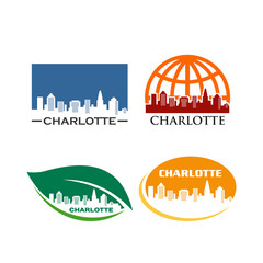 CHARLOTTE CITY NORTH CALIFORNIA SKYLINE logotype