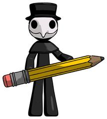 Black Plague Doctor Man writer or blogger holding large pencil