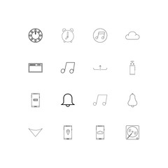 Music linear thin icons set. Outlined simple vector icons
