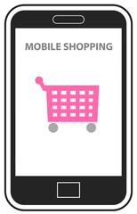 Mobille shopping vector icon