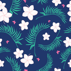 Tropical navy and pink flowers seamless pattern. Great for summer exotic wallpaper, backgrounds, packaging, fabric, and giftwrap projects. Surface pattern design.