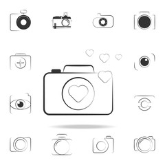 logo photo with love icon. Detailed set of photo camera icons. Premium graphic design. One of the collection icons for websites, web design, mobile app