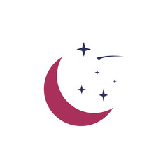 crescent moon and stars colored icon. Element of web icon for mobile concept and web apps. Colored isolated crescent moon and stars icon can be used for web and mobile