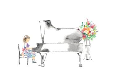 ピアノ発表会、女の子と花、赤