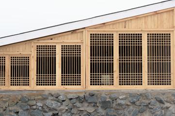 triangular wooden grid