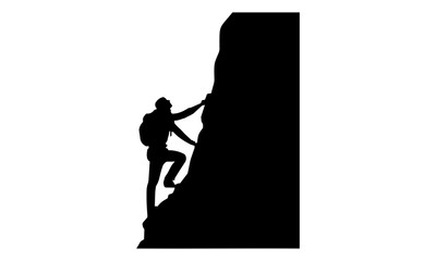 male silhouette image climbing rock cliffs