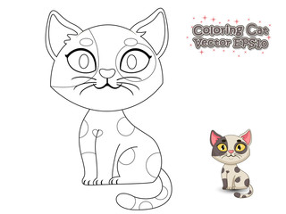 Coloring the Cute Cartoon Cat. Educational Game for Kids. Vector illustration.