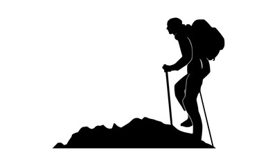 the silhouette of a male mountaineer in a snow area
