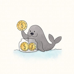 Seal saving coins in a jar