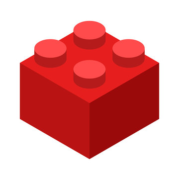 Red lego brick block or piece flat vector color icon for toy apps and websites