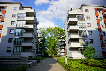 New housing estate in Lodz. Typical architecture