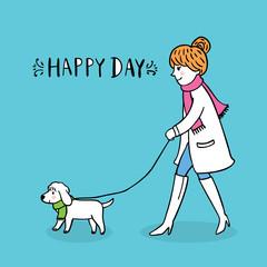 Cartoon cute woman take dog walking vector.