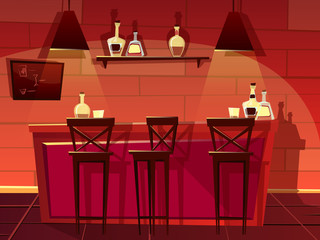 Bar or pub counter vector illustration. Cartoon flat front interior design of beer bar with chair seats and barista shelf with bottles of whiskey, vodka or tap beer and alcoholic drinks menu board