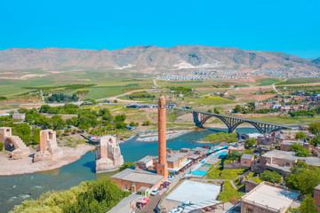 Panorama of the city of Hasankeyf in eastern Turkey - Tigris river