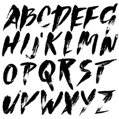 Grunge distress font. Modern dry brush ink letters. Handwritten alphabet. Vector illustration.
