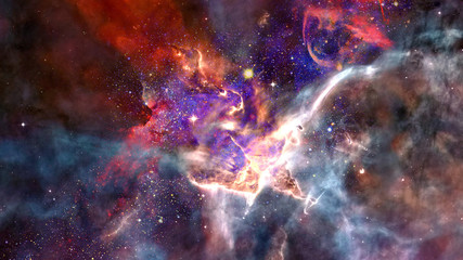 Nebula, galaxy and stars in deep space. Elements of this image furnished by NASA