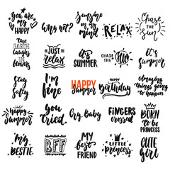 Hand drawn different quotes set of lettering phrases isolated on the white background. Fun brush ink vector illustration for banners, greeting card, photo overlays.