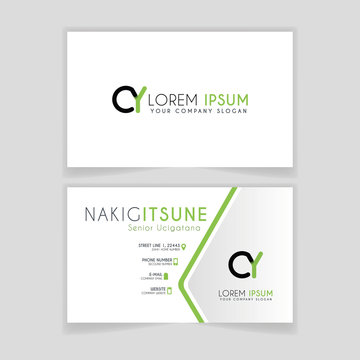 Simple Business Card with initial letter CY rounded edges with green accents as decoration.