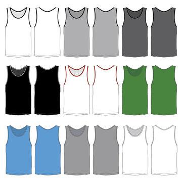 Vector template for Men's tank tops