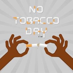 Stop smoking with human hands breaking the cigarette.Human hand crushing cigarette.Hands and Quit Tobacco vector logo design template.May 31st World no tobacco day.No Smoking Day Awareness Idea