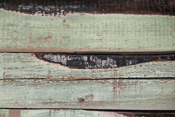 Closeup of wooden wall painted light green
