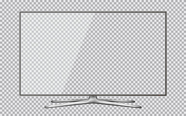 Modern TV with transparent screen isolated on transparent background