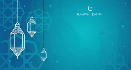 Night view of the Arabic lantern and shadow of mosque, Ramadan Kareem background Vector illustration.