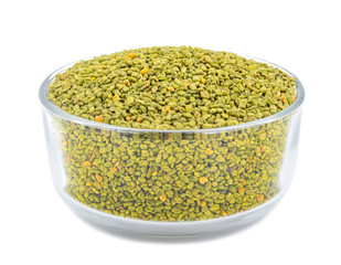Green Fenugreek Seeds Also Know as Methi Seeds in India isolated on White Background