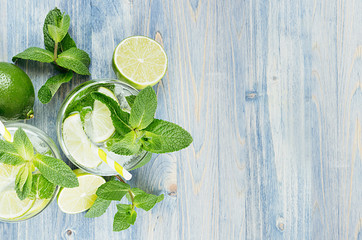Cold detox summer mineral water with lime, mint, ice, straw on soft blue wood background as decorative border, top view.