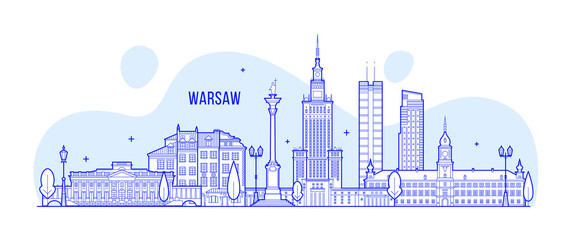 Fototapete - Warsaw skyline Poland city buildings vector