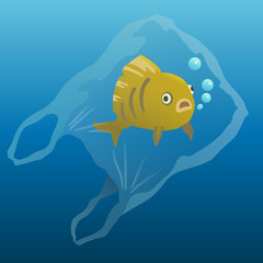 fish in the plastic bag. plastic pollution illustration