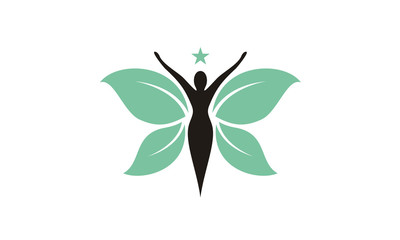 Butterfly Woman with Leaf Wings logo design inspiration