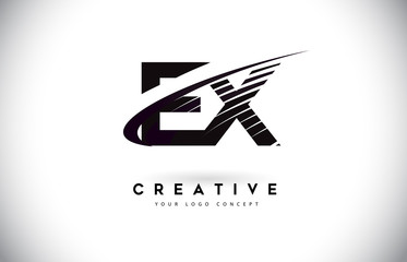 EX E X Letter Logo Design with Swoosh and Black Lines.