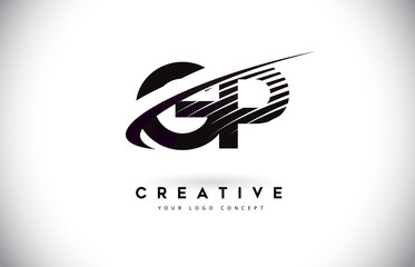 GP G P Letter Logo Design with Swoosh and Black Lines.