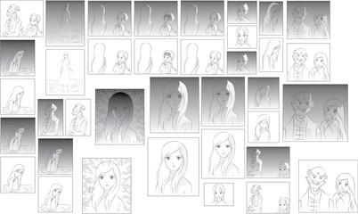 comic people drawing vector