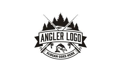 Angler / Fishing Emblem Logo design inspiration