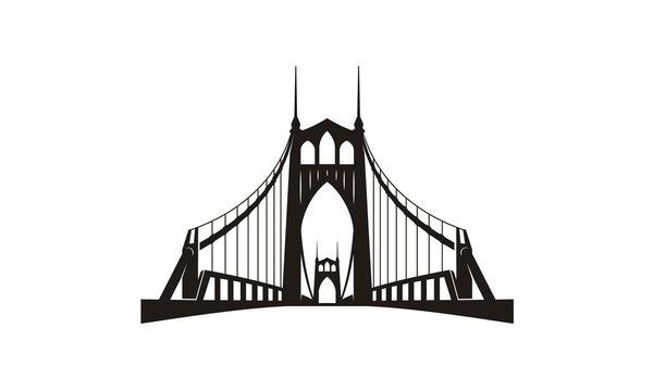 Silhouette of St. Johns Bridge at Portland Oregon